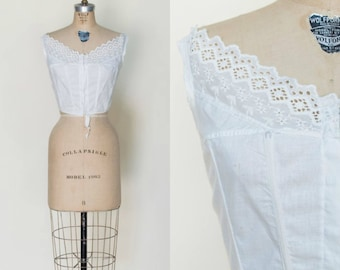 Antique Edwardian Chemise --- 1900s White Cotton Camisole
