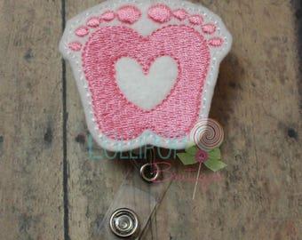 Pink Baby Feet Badge Reel, Baby Feet Badge Reel, Felt Badge Reel, Retractable badge holder, badge holder, work ID holder, ID badge holder