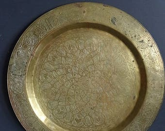 Large Brass Tray Round Etched Design 20 Inch