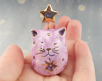 Clay Cat with Gold Stars Ceramic Figurine