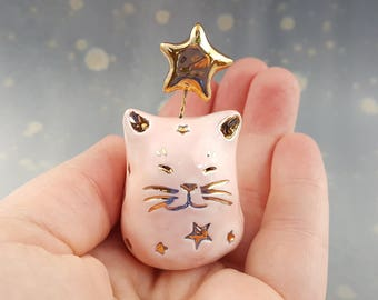 Pink Fairy Cat with Gold Stars