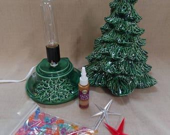 "Ceramic Christmas Tree Lighted 14"" Nowell Vintage Mold - Green - Star"