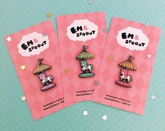 Unicorn Carousel hard enamel lapel pin - pink, lavender or mint