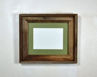 "5"" x 7"" sage green mat in 8x10 frame from rustic reclaimed wood complete with glass,mat,backing and hardware free shipping"