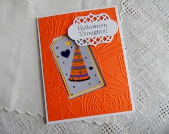 Handmade Halloween Card:  witch hat, greeting card, orange, window card, humor, friend, wicked, complete card, handmade, balsampondsdesign