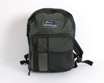 GRUNGE green and black nylon 80s 90s BACKPACK knapsack hiking TRAVEL unisex