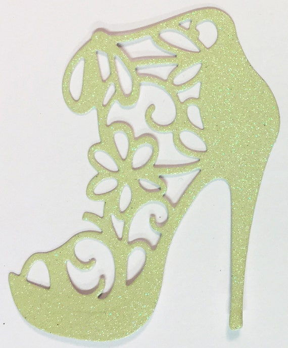 High Heel Shoe Die Cut Light Yellow Glitter Card Stock - Glamorous Feminine Embellishment Scrapbook Card Party Invitation Art Craft Collage