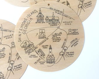 Birch Wood Saint Simons Island, Georgia Map Ornament