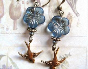 Blue flower earrings, bird earrings, nature jewelry, womens gift, brass bird charm
