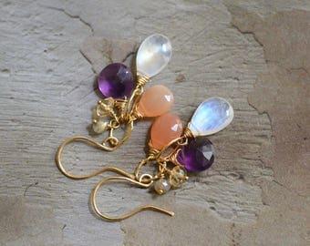 14kt Gold Moonstone Earrings -  Peach Moonstone Earrings - Amethyst Earrings - Mixed Stone Earrings - Gold Link Earrings Earrings