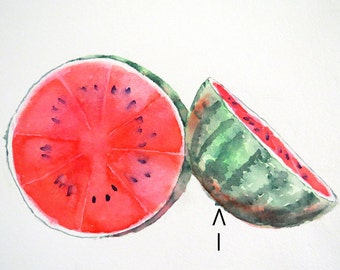 CUSTOM ORDER for Alison Fruit Art Painting of watermelon without shadows Original watercolor painting LaBerge