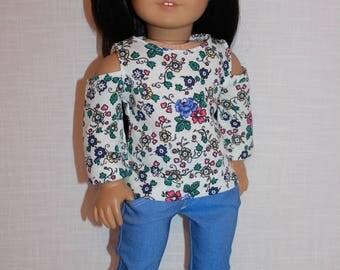 18 inch doll clothes, peak a boo shoulder top, light blue denim skinny jeans, upbeat petites