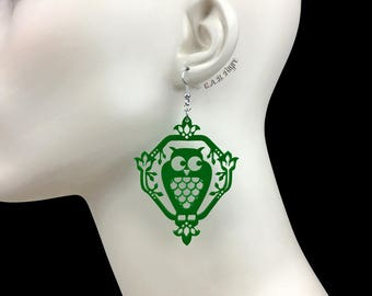 READY MADE SALE - Whimsical Owl Earrings - Shamrock Green Owl - Laser Cut Acrylic Owl Earrings