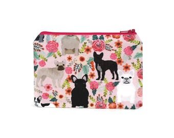 CHOOSE SIZE Frenchies in the Garden Zipper Pouch / French Bulldog Camera Bag on Pink / Make Up or Coin Pouch