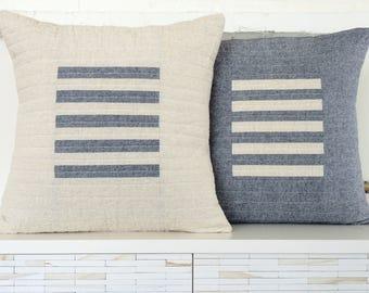 Modern LinenThrow Pillow -  Homespun Stripe
