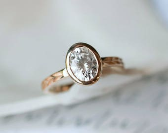 Oval Moissanite Engagement Ring | 8x6mm Oval Moissanite Rose Gold Ring| Forever One Moissanite | Conflict Free | Recycled Rose Gold