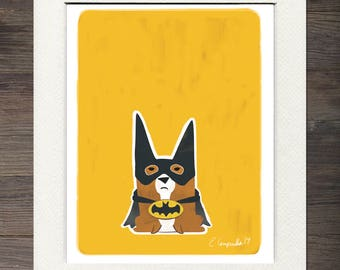 Batman Corgi Matted Art Print