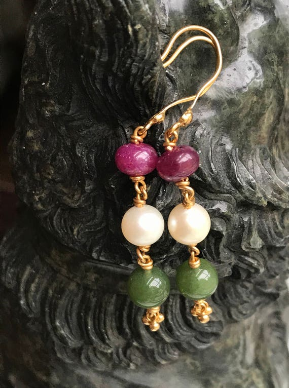 22 KT Gold, Ruby, Pearl, and Emerald Bead French Wire Dangle Earrings