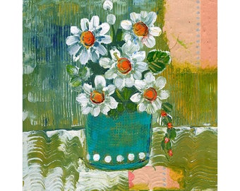 Floral Art on Wood, Flower Painting, Original Artwork 8X8 Flower Decor
