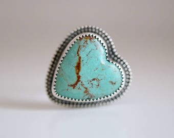 Turquoise heart ring. Sterling silver ring with natural Turquoise heart. Kingman Turquoise, Turquoise heart, blue turquoise, heart ring.