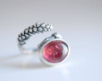 Rubelite ring. Sterling silver Succulent ring with Rubelite. Pink Tourmaline ring, October birthstone, Rubelite twig ring, Succulent ring.