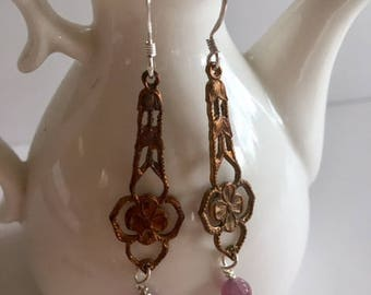 Vintage French Earrings With Ruby-Vintage Earrings