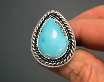 Blue Turquoise Ring, Sterling Silver Statement Ring, Southwestern Ring, Boho Ring, Bezel Set Teardrop Cabochon Ring, Ready to Ship, Size 8
