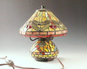 Stained Glass Lamp- Vintage Dragonfly Small Lamp