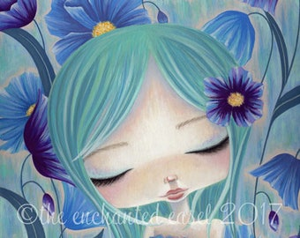 Blue Poppies Print, Girls Room, Whimsical, Girls Wall Art, Blue, Flowers, Beautiful Girl, Poppies, Fantasy, Art Print
