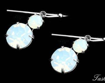Minimalist Opalite Swarovski Drop Earrings, Vintage Rhinestone Crystal Dangle Jewelry