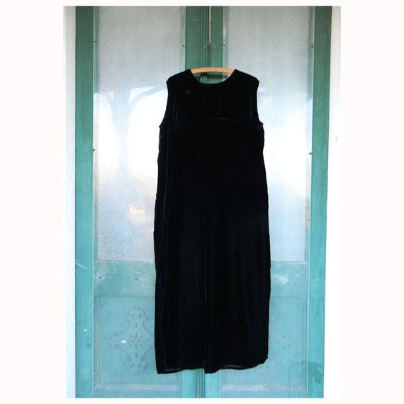 Angelheart Designs Engelhart Viridescent Velvet 1997 Sumptuous Shift Dress -L- Black Rayon Velvet