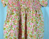 Juniorette Size 3X Flowered Smocked Girls Dress - 1960s Smocking - Made in Canada