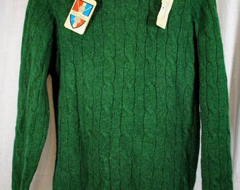NOS Robert Scott Pure Wool Green Cable Knit Sweater - Muted Kelly Green