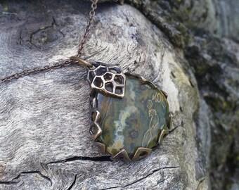 Realmstone - Ocean Jasper and Bronze Pendant