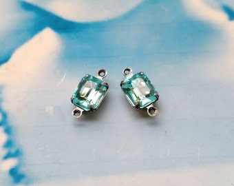 Vintage Aquamarine  10x8mm CZECH Crystal Stones Sterling Silver Ox Plated Connector Prong Setting  475SOXCON x2
