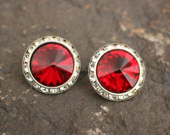 Vintage Earrings, Vintage Rhinestone Earrings, Red Earrings, Pierced Earrings, Rhinestone Earrings