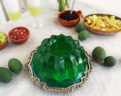 1:6 Scale Miniature JELLO Lime GREEN or Cherry RED Molded Gelatin on Vintage Metal Plate - Realistic Faux Food for Fashion Dolls & Figures
