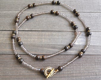 Chocolate Agate Smoked Mocha Colored Gemstone Bead Necklace Artisan Toggle Clasp Long Strand