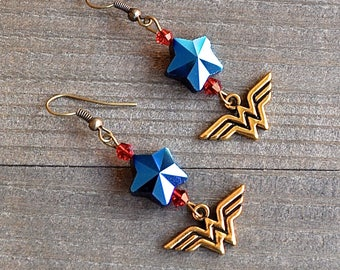 Wonder Woman Earrings  Superhero Style Gold Comic Charms Blue Star & Red Bead Justice League Fans Megacon Comic Book Lover Earrings