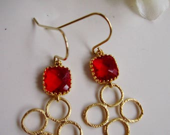 Christmas Earrings, Gold Boho Earrings, Red Connectors, Brushed Gold, Chandelier Earrings, Red Glass, Bridesmaid Earrings, Wedding Jewelry