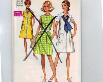 1970s Vintage Sewing Pattern Simplicity 8755 Womens A Line Dress Size 44 Bust 48 UNCUT 1970s 70s