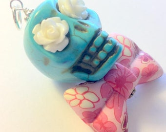 Big Turquoise Sugar Skull Day of the Dead Pendant or Ornament Pink Bow Tie and White Roses