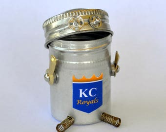 KC ROYALS Bitty Bot, Assemblage Art Recycled Robot