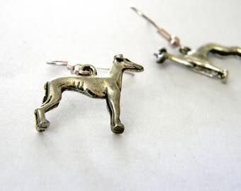 Greyhound Earrings Silver Color Dangle Earrings Dog Earrings