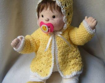 Dolls, soft baby, baby doll, cloth doll, rag doll, cloth baby doll, waldorf inspired, soft sculpture doll, doll w / 2 outfits, jacket, hat