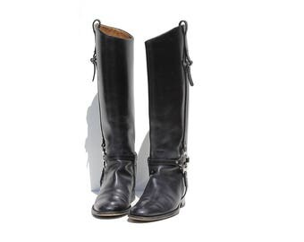 Vintage Gucci Charlotte Black Leather Knee High Boots / size 7