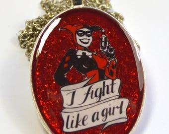 Harley Quinn Animated Series Geeky Feminist Portrait Pendant
