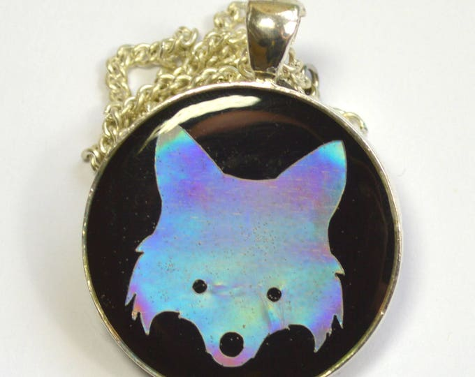 Holographic Fox Wolf Silhouette Pendant