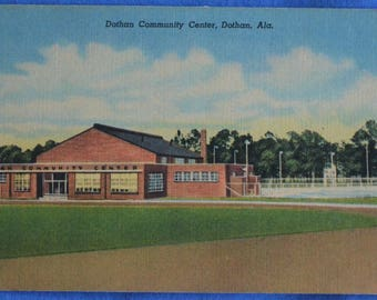 Dothan Community Center Alabama AL Linen Postcard Unused