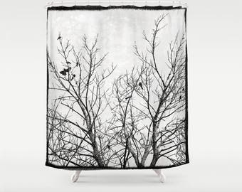 Gothic Black and White Drapey Fabric Shower Curtain with Silhouetted Black Birds in Tree Branches